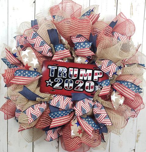 Trump 2020 Jute Mesh Wreath
