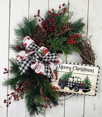 Buffalo Check Merry Christmas Grapevine and Pine Wreath