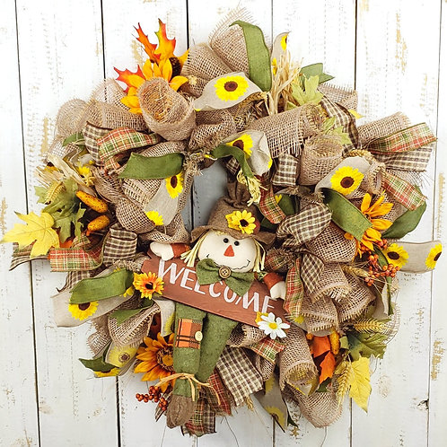 Scarecrow Wreath-Welcome