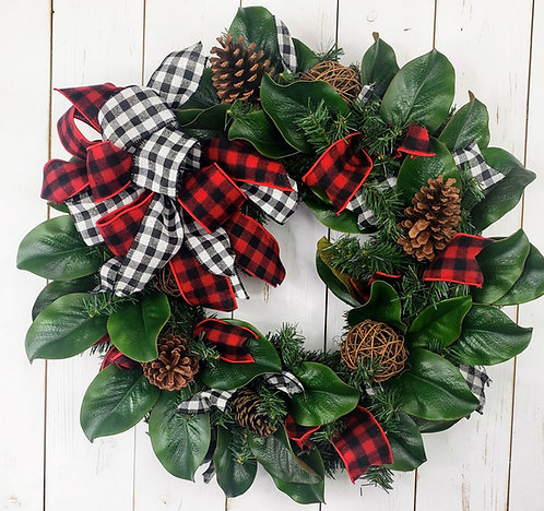 Magnolia and Pine Holiday Wreath