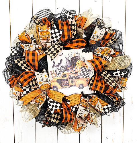 Orange and Black Halloween Mesh Wreath
