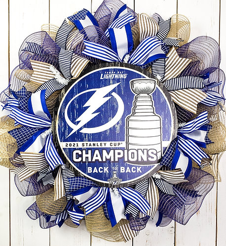 Tampa Bay Lightning Stanley Cup Champions Wreath - Neutral