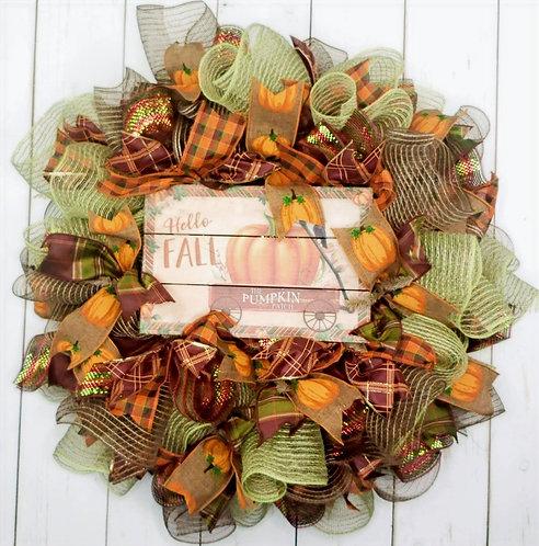 Hello Fall Mesh Wreath