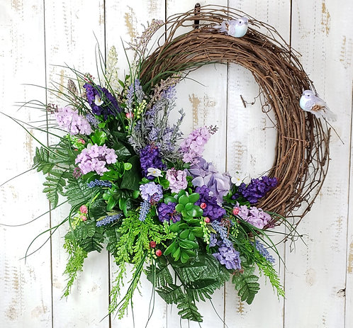 Purple and Lavender Floral Wreath