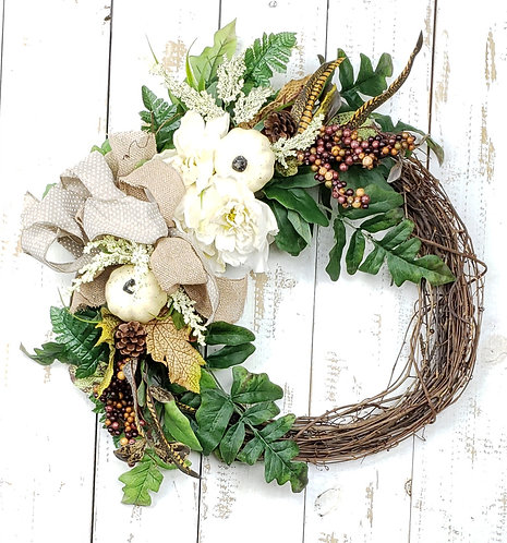 Cream Floral and Pumpkins Wreath