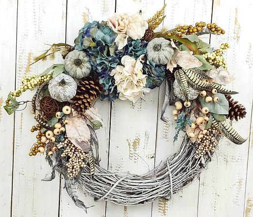 Blue and Ivory Hydrangea Wreath