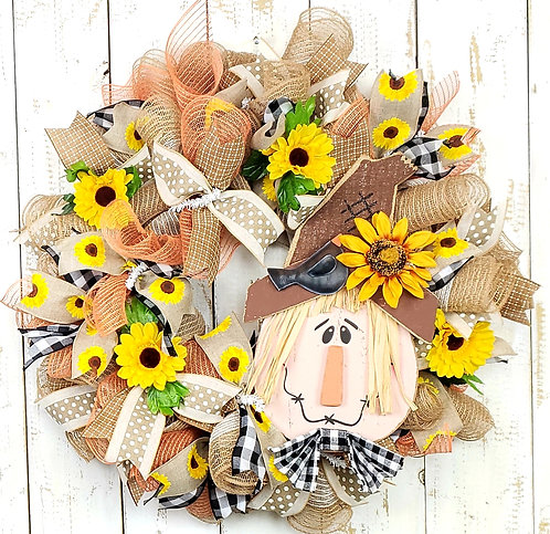 Scarecrow and Sunflowers- Fall Wreath