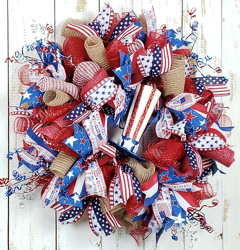 Skinny Top Hat Patriotic Wreath