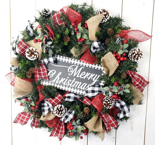 Merry Christmas Pine and Burlap Wreath