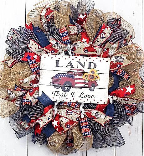 Land That I Love Patriotic Wreath