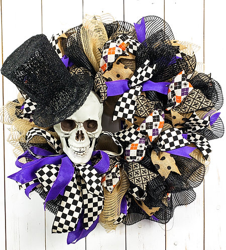 Top Hat and Skull Halloween Wreath