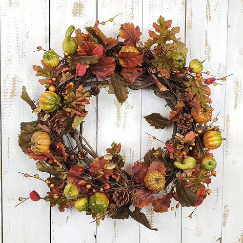 Autumn Wreath with Leaves and Pumpkins