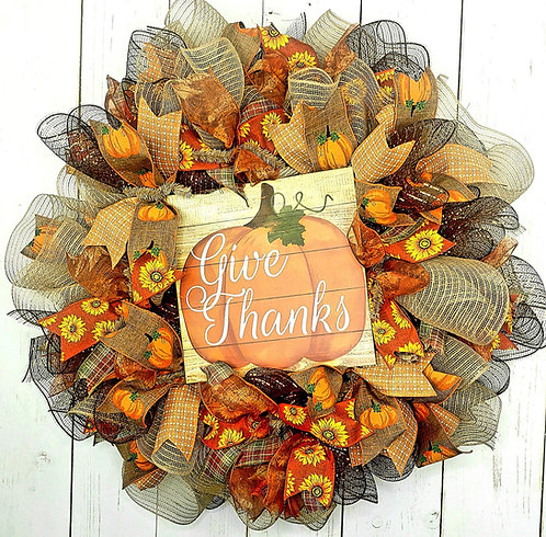 Give Thanks Mesh Wreath