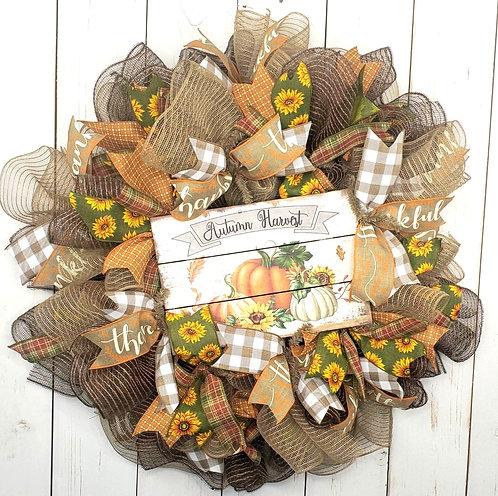 Autumn Harvest Mesh Wreath