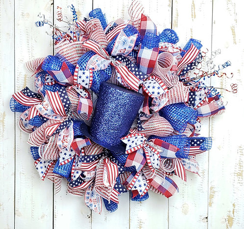 Uncle Sam Top Hat Patriotic Wreath