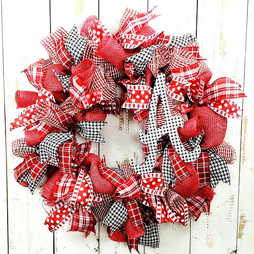 "Alabama Houndstooth ""A"" Wreath"
