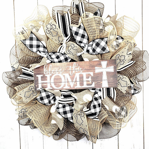 Bless this Home Mesh Wreath