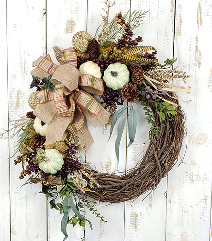 Fall Grapevine Wreath with Pumpkins