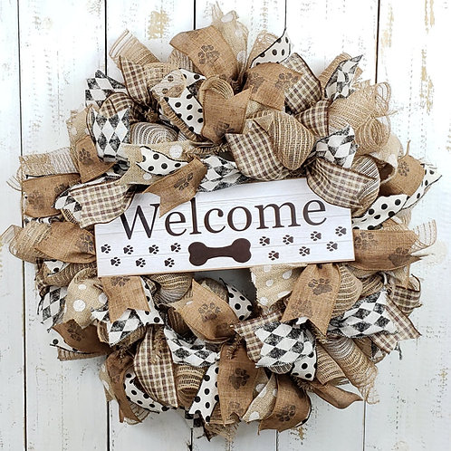 Welcome Dog Wreath