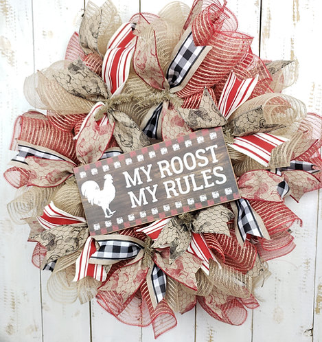 My Roost My Rules Mesh Wreath