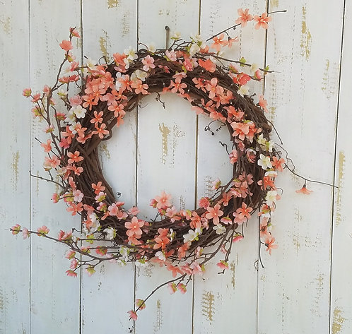 Peach and White Floral Wreath