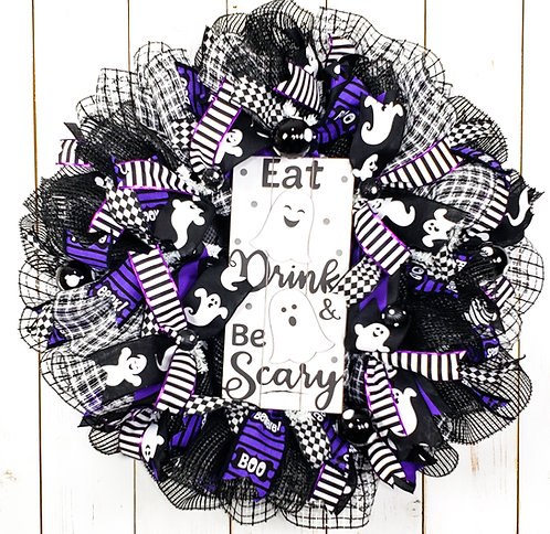 Eat Drink & Be Scary Halloween Wreath