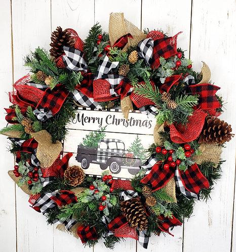 Buffalo Check Merry Christmas Pine Wreath