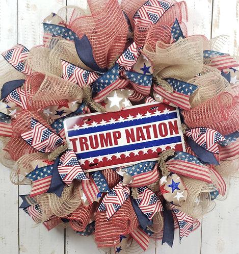 Trump Nation Jute Mesh Wreath
