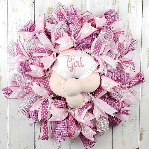 It's a Girl Mesh Wreath