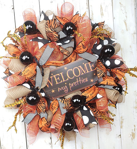 Orange and Black Halloween Wreath