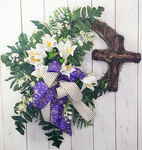 Easter Lily and Cross Wreath- He is Risen Bow
