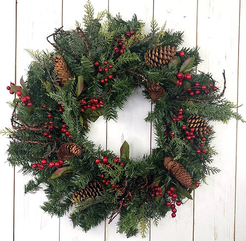 Evergreen, Berries, and Pinecones Wreath