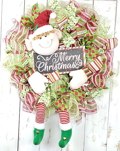 Merry Christmas Elf Wreath