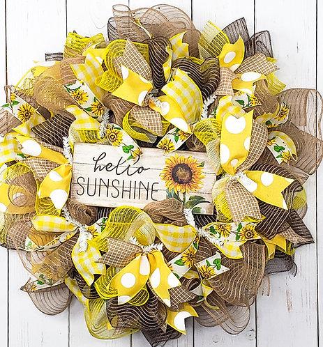 Hello Sunshine Mesh Wreath