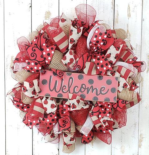 Ladybug Welcome Wreath