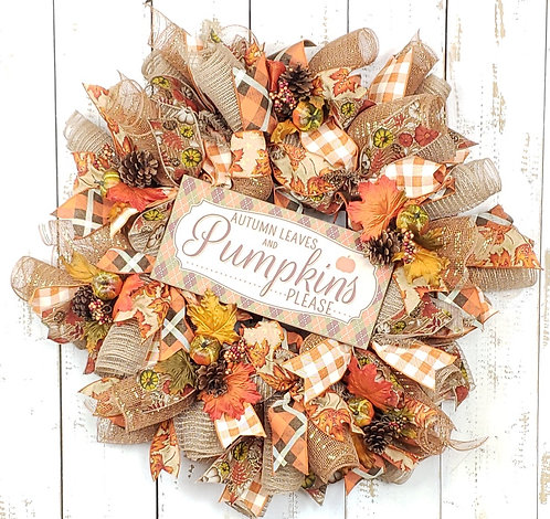 Autumn Leaves And Pumpkins Mesh Wreath