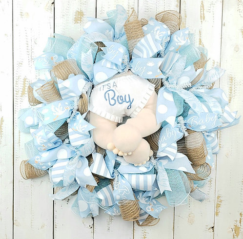 It's A Boy Mesh Wreath