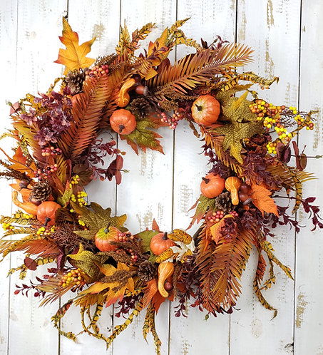 Fall Wreath with Feathers, Pumpkins, and Goursds