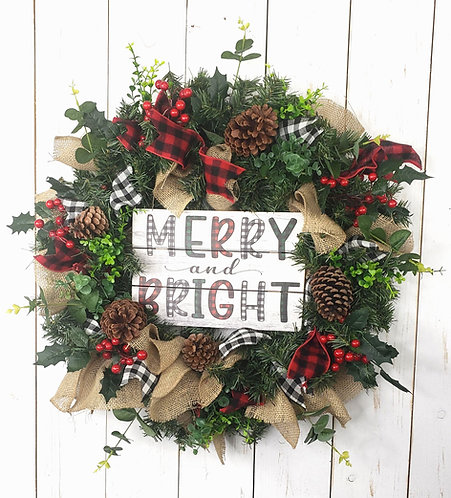 Merry and Bright Holiday Pine Wreath