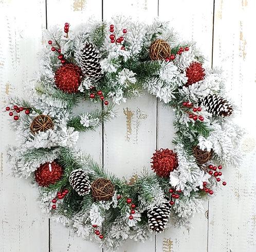 Flocked Holiday Wreath