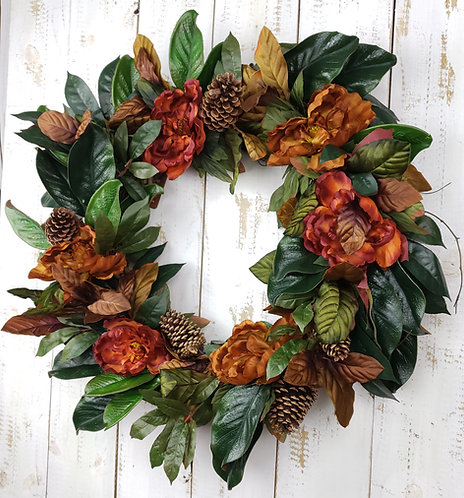 Peony and Magnolia Fall Wreath