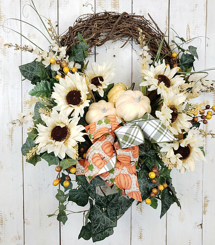 Sunflower and Pumpkin Wreath