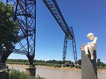 pont transbordeur et statue