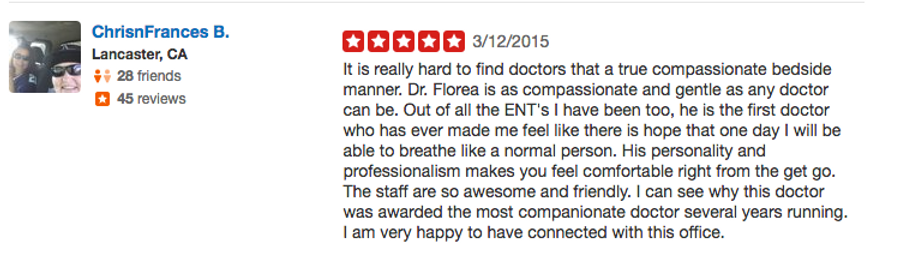 Yelp review Dr.Florea Redlands
