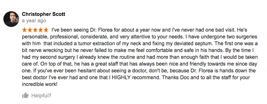 Google+ review Dr.Florea redlands