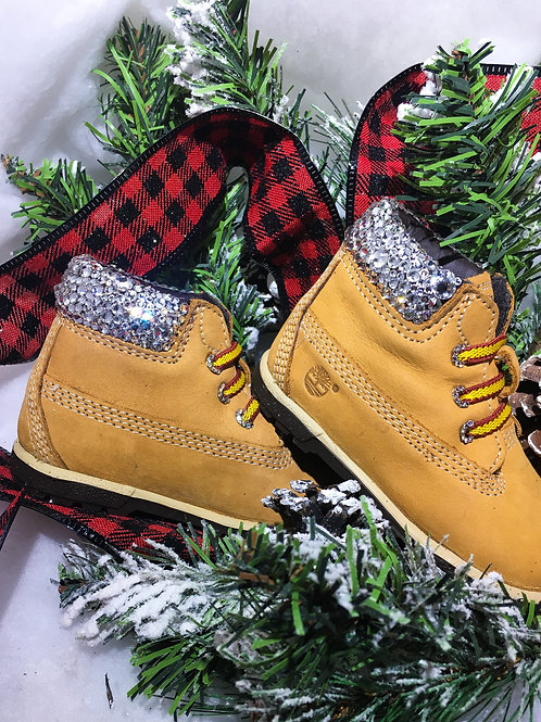 Crystal Embellished Timberland Crib Boot Size 3
