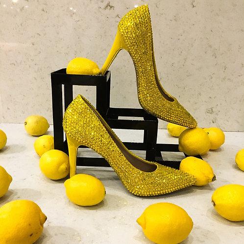 Lemon Yellow Crystal Heels