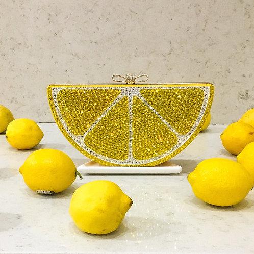 Lemon Yellow Crystal clutch