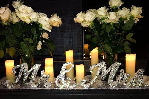 Mr & Mrs Crystal Embellished Letters