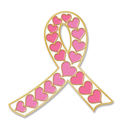 White Ribbon With Pink Hearts - Pin